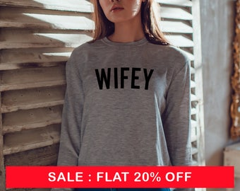 Wifey Sweatshirt - Wifey Gray Slouchy -  Off Shoulder Sweater - Womens Sweater - Wedding Gift - Wifey Slouchy Sweatshirt - Wifey Sweatshirt