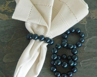 Pearl Napkin Rings, Beaded Napkin Rings, Wedding Napkin Holder, Formal Table, Boho Table, Table Decor, Holiday Table, Wedding table