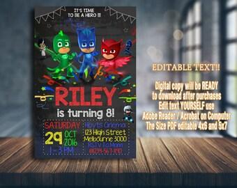 PJ Masks Invitation, PJ Masks Birthday, PJ Masks Party, pj masks card, pj masks printable, pj masks girl, pj masks invitations, girl invite