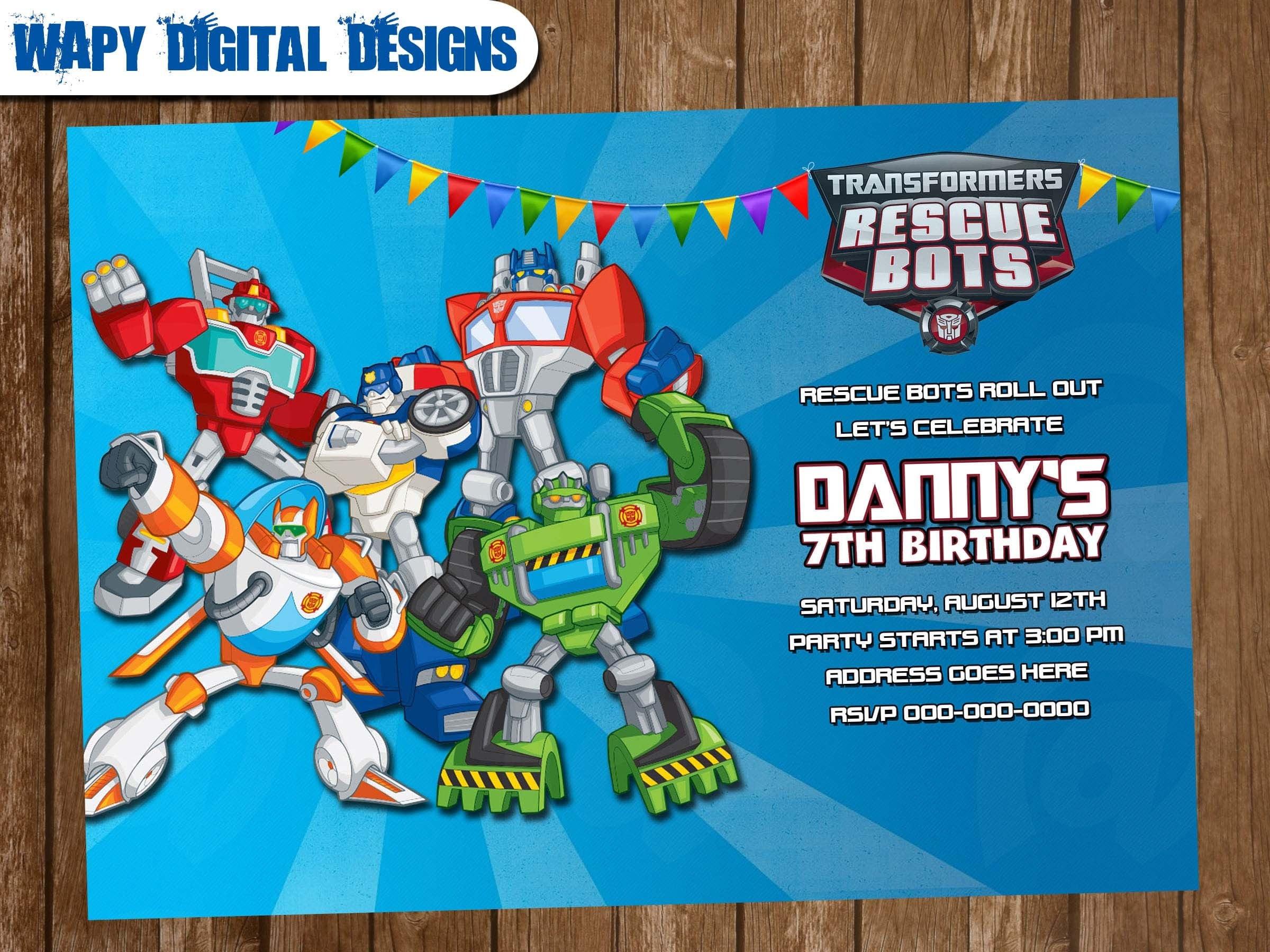 Transformers Rescue Bots Digital Party invitation customize invite ...