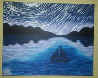 Sailboat on the lake acrylic painting
