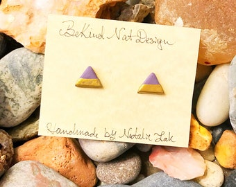 Lavender Gold Dipped Polymer Clay Earrings