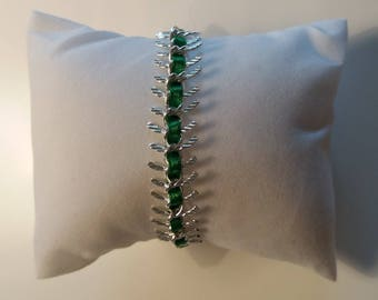 Silvery green fishbonne bracelet