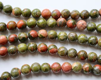 8mm Unakite beads, full strand, natural stone beads, round, 80043