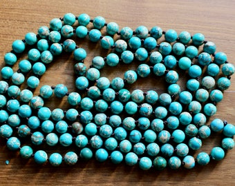 Knotted 8mm green Jasper beads, 60 inches, natural stone beads, round, 80138