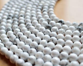 8mm White Howlite beads, full strand, natural stone beads, round, 80054