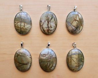Picasso jasper pendant, Picasso jasper natural stone pendant, raw stone pendant, top drilled, jasper stone pendant, green pendant, P0028