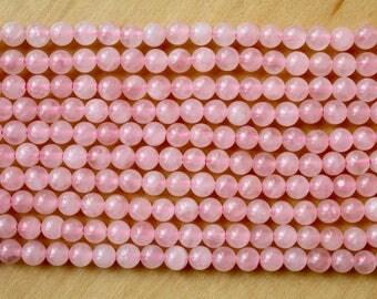 6mm Rose Quartz beads, full strand, natural stone beads, round, 60047