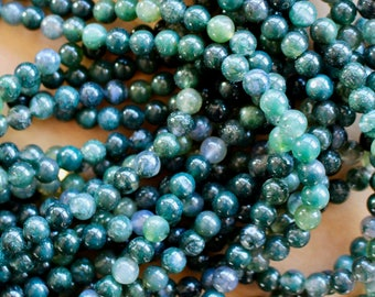 6mm Moss Agate beads, full strand, natural stone beads, round, 60037