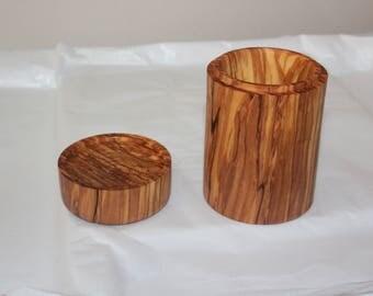 Olive wood jewellery trinket box