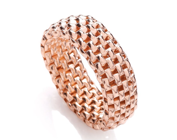 925 Sterling Silver Stretchy Mesh 8mm Ring - Rose Gold, Gold or Silver