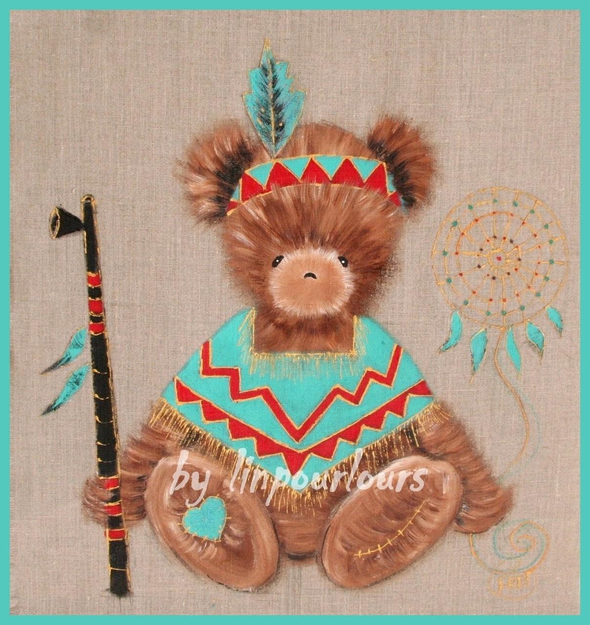 Tableau pour chambre d 39 enfant personnalisable petit ours - Tableau enfant personnalisable ...
