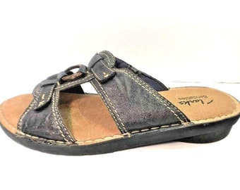 Clarks Bendables Blue Leather Open Toe Slip On Sandals Womens size 9M