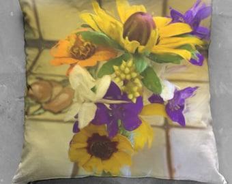Wild Sunflower Bouquet Pillow