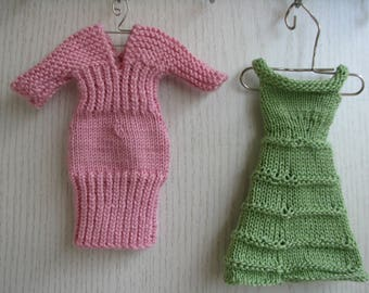 Knitted handmade 2 dresses for Barbie, pink and green dresses, fashion doll dress,  Barbie Clothes