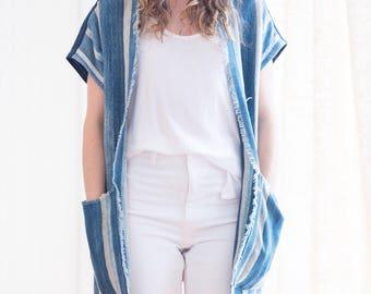 Solid + Striped Indigo Handmade Kimono
