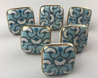 Set of 6 LARGE X Art Deco Style Blue and White Patterned SQUARE knobs edged in Gold colour