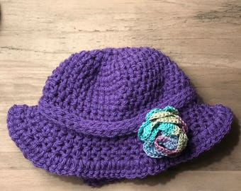 Purple rose crocheted baby hat