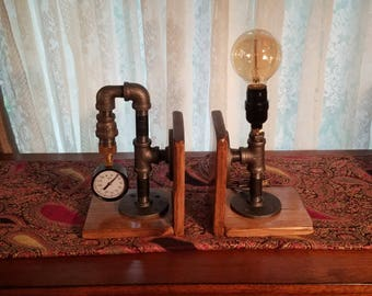 Industrial Lamp/Steampunk Bookends