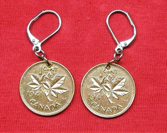 1941 earrings made with real under 1941 Canadian