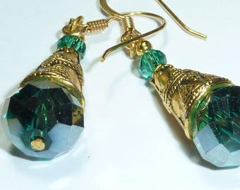 """Emerald"" Crystal Gold Earrings Swarovski"