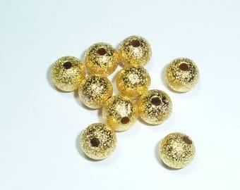 10 glitter gold metal 6mm beads