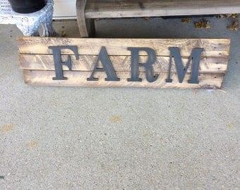 Wood farm sign