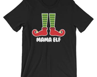 Mama Elf Family Portrait Christmas Picture Greeting Cards