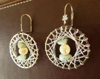Bohemian earrings, mother of Pearl