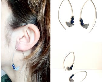 Polished concrete and lapis lazuli earrings