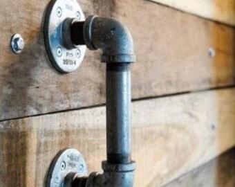 Industrial Vintage Style Door Handle Made From Industrial Pipe Fittings