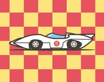 Go, Speed, GO! / Speed Racer / Illustration / Art Print