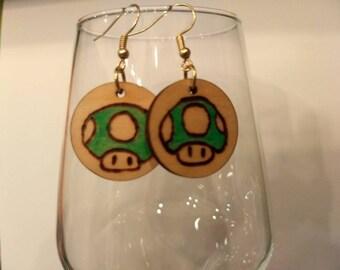 Wood Burned Nintendo Earrings