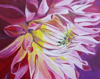 Pink Dahlia - Oil on canvas
