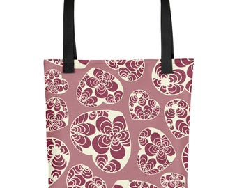 Durable pink Tote bag, Love heart shopping bag, pink shoulder bag,