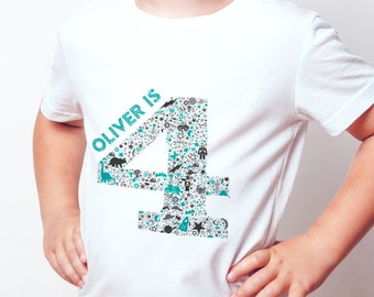 A personalised age t-shirt with boyish print.