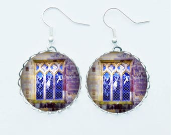 Purple Church Window Earrings / Pendant Necklace / Ring / Pin Badge Stained Glass Windows Religious Spiritual Jewellery Jewelry