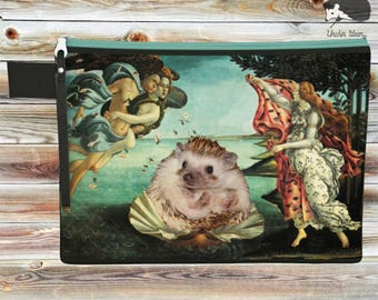 Hedgehog Renaissance Art Zippered Bag - Hedgehog Clutch - Hedgehog Gift - Cosmetic Bag - Make Up Case - Purse Organizer - Travel Toiletry