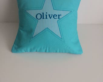 Personalised cushion cover . Baby boy . Name cushion . Star cushion cover . Blue . Nursery decor . Decorative cushion .