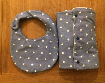 Travel changing mat and bib matching blue/stars