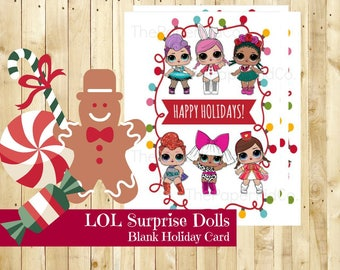 L.O.L Surprise Dolls - Tangled in Christmas Lights - Blank Christmas Card - Printable - Instant Download