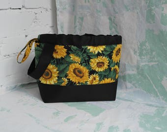 Sunflowers knitting bag Sock project bag Knitting bag Knitting storage bag Yarn Bag Crochet project bag Project Bag Knitting accessories