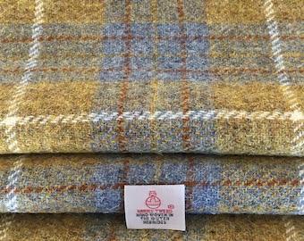 Blue & Mustard Harris Tweed, Tartan Tweed Fabric - 30 x 25cm With Authenticity Label