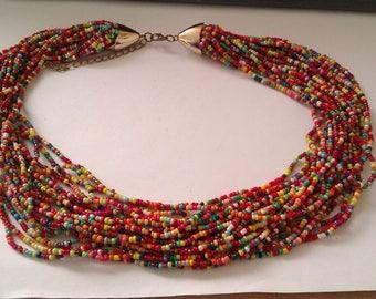 multi strand multi coloured micro bead necklace