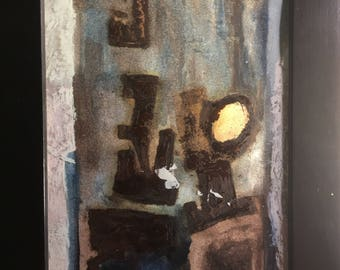 Abstract Painting On Cardboard - Abstract Art, Small Cardboard Original Oil Painting