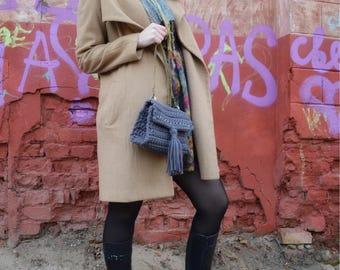 Crossbody crochet bag, knitted bag, women bag, handbag, t-shirt yarn bag