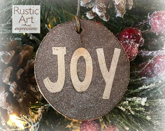 HAMMERED GRAY Joy Rustic Ornament | Reclaimed Wood Christmas Ornament | Hostess Gift