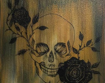 Skull with 2 Roses