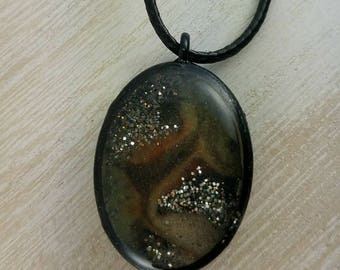 Glass Marble-Inspired Dimensional Resin Pendant Pimento Olive Silver Glitter with Black Metal Bezel