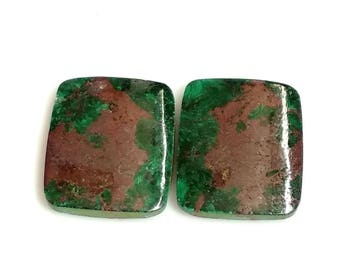 Chrysocolla Rectangal Pair Cabochon,Size- 19x16 MM, Natural Chrysocolla, AAA,Quality  Loose Gemstone, Smooth Cabochons.
